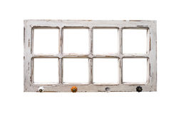 Calibre en bois de cadre de photo vide d'isolement sur le mur Images stock