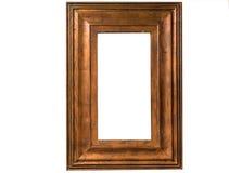 Calibre en bois de cadre de photo vide d'isolement sur le mur Images libres de droits