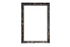 Calibre en bois de cadre de photo vide d'isolement sur le mur Photographie stock