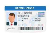 Calibre en plastique de carte de permis de conduire plat d'homme, illustration de vecteur de carte d'identification illustration de vecteur