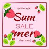 Calibre en ventes d'été Modèle avec des fraises et des feuilles dans le cadre Illustration de vecteur illustration libre de droits