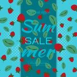 Calibre en ventes d'été Modèle avec des fraises et des feuilles de fond bleu Illustration de vecteur illustration libre de droits
