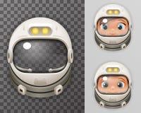 Calibre en verre d'icône de fond de Transperent d'affiche de Spaceman Boy Girl Tantamareska d'astronaute de Helmet Realistic 3d d Image stock