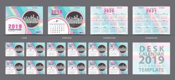 Calibre 2019, ensemble de 12 mois, calendrier 2019, 2020, 2021 illustrations, planificateur, débuts de calendrier de bureau d'ens illustration de vecteur