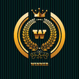 Calibre ENV 10 de logo de couronne d'or de propriété d'immobiliers de logo de gagnant Images libres de droits