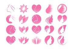 Calibre esthétique de logo de fille de station thermale illustration libre de droits