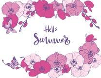 Calibre floral de carte d'?t? de ressort Cadre rond de frontière de guirlande de cercle décoré des fleurs pourpres roses exotique illustration de vecteur