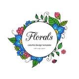 Calibre floral de style zentangle coloré de cadre de griffonnage avec le secteur d'espace de copie illustration libre de droits