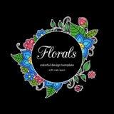 Calibre floral de style zentangle coloré de cadre de griffonnage avec le secteur d'espace de copie Carte postale ou invitatio viv illustration stock