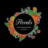 Calibre floral de style zentangle coloré de cadre de griffonnage avec le secteur d'espace de copie Carte postale ou invitatio viv illustration libre de droits