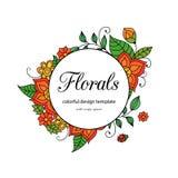 Calibre floral de style zentangle coloré de cadre de griffonnage avec le secteur d'espace de copie Carte postale vive de vintage  illustration de vecteur