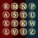 Calibre floral simple et gracieux de conception de monogramme Élégant conception de logo de schéma Lettre R, M, N, P, A, S, T, U, Images stock