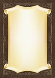 Calibre, fond avec un cadre d'or et rouleau sur le morceau de cuir foncé Photographie stock