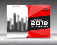 Calibre 2018, fond rouge de calendrier de couverture polygonal Photo stock