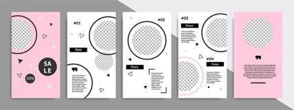 Calibre géométrique noir et rose Editable de bannière pour les histoires de courrier de médias et la couverture sociales d'histoi illustration de vecteur