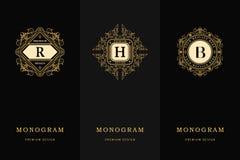 Calibre gracieux d'éléments de conception de monogramme Élégant calligraphique conception de logo de schéma Marquez avec des lett illustration de vecteur