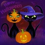 Calibre heureux de carte de chats noirs de Halloween Photo libre de droits