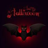 Calibre heureux de carte de Halloween avec un bon nombre de battes de vol dans l'obscurité Photo stock