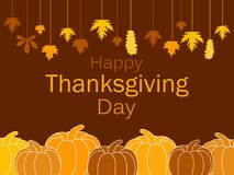 Calibre heureux de carte de voeux de jour de thanksgiving Potirons et feuilles accrochantes, une guirlande des feuilles d'automne Image libre de droits