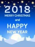 Calibre heureux de conception de la nouvelle année 2018 avec le ciel, la lune et le C brillants Photographie stock libre de droits