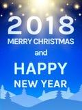 Calibre heureux de conception de la nouvelle année 2018 avec le ciel, la lune et le C brillants Photos stock