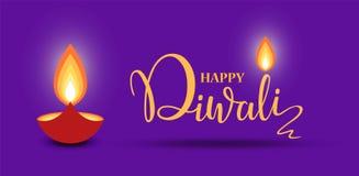 Calibre heureux de conception de papier peint de lettrage de Diwali illustration de brûler la lampe à pétrole de diya de Diwali p illustration stock