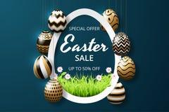 Calibre heureux de fond de vente de Pâques avec les oeufs et l'herbe décorés par éclat d'or réaliste illustration libre de droits