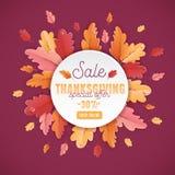 Calibre heureux de fond de vente de thanksgiving avec la belle illustration de feuilles en vente de achat, affiche de promotion Image libre de droits