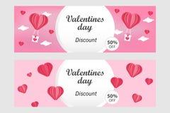 Calibre horizontal de bannière de vente de jour de valentines dans - l'illustration de vecteur dans l'art de papier/le style coup illustration stock