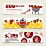 Calibre horizontal de bannières de BBQ et de bifteck Images libres de droits