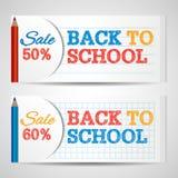 Calibre horizontal moderne de bannières avec de nouveau au texte tiré par la main d'école Photographie stock libre de droits