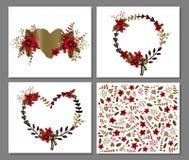 Calibre imprimable romantique et d'amour de carte avec des fleurs et des coeurs Images libres de droits