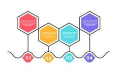 Calibre infographic abstrait avec 4 étapes pour le succès Calibre de milieu économique avec des options pour la brochure, diagram Illustration Stock
