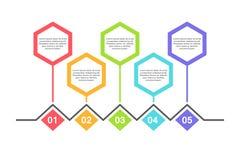 Calibre infographic abstrait avec 5 étapes pour le succès Calibre de milieu économique avec des options pour la brochure, diagram Illustration Libre de Droits