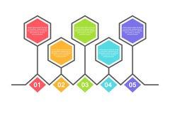 Calibre infographic abstrait avec 5 étapes pour le succès Calibre de milieu économique avec des options pour la brochure, diagram Illustration Stock