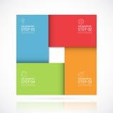 Calibre infographic carré de vecteur dans le style matériel Concept d'affaires avec 4 étapes, pièces, options illustration stock