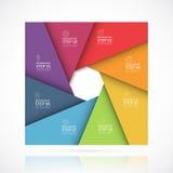 Calibre infographic carré de vecteur dans le style matériel Concept d'affaires avec 7 étapes, pièces, options illustration libre de droits