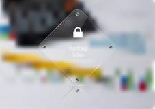 Calibre infographic d'illustration avec le rectangle en verre sur le fond brouillé illustration libre de droits