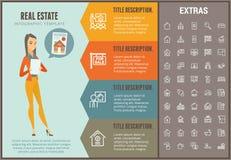 Calibre infographic d'immobiliers, éléments, icônes illustration libre de droits