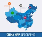 Calibre infographic de carte de la Chine Toutes les régions sont sélectionnables Vecteur Photos libres de droits