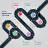 Calibre infographic de carte de vecteur de navigation Route d'enroulement illustration stock