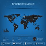 Calibre infographic de carte du monde sur le fond bleu Peut être employé pour la disposition de déroulement des opérations, web d Images libres de droits