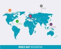 Calibre infographic de carte du monde Tous les pays sont sélectionnables Photographie stock