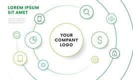 Calibre infographic de conception d'aperçu de société avec des icônes Conception de cercle Vecteur Images libres de droits