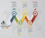 Calibre infographic de conception de vecteur de 5 étapes de chronologie Peut être employé pour des processus de déroulement des o illustration de vecteur
