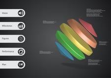 calibre infographic de l'illustration 3D avec des cylindres entre deux cônes de biais disposés Image stock