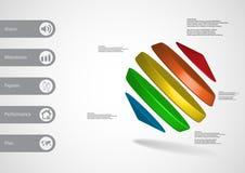 calibre infographic de l'illustration 3D avec des cylindres entre deux cônes de biais disposés Photo stock
