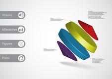 calibre infographic de l'illustration 3D avec des cylindres entre deux cônes de biais disposés Photos libres de droits