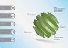 calibre infographic de l'illustration 3D avec des cylindres entre deux cônes de biais disposés Images libres de droits