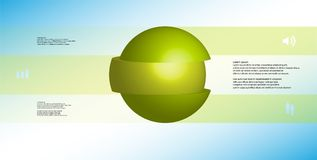 calibre infographic de l'illustration 3D avec la boule découpée à trois parts et empilée en tranches avec les éléments décalés Illustration de Vecteur